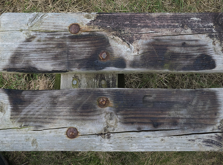 insignificant scorch marks on wooden bench from disposable barbecues